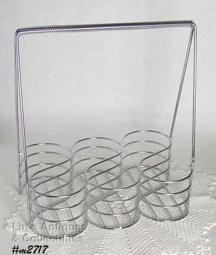 SILVER COLOR VINTAGE GLASSES OR ALUMINUM TUMBLERS CADDY HOLDER