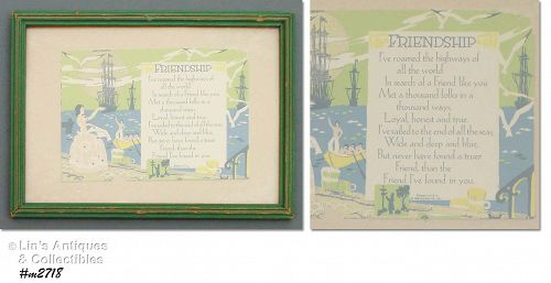 "VINTAGE FRAMED ""FRIENDSHIP"" POSTCARD COPYRIGHT DATE 1930"