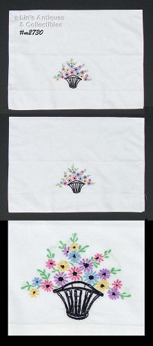 BASKET OF FLOWERS HAND EMBROIDERED PILLOWCASES