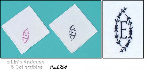 TWO MONOGRAM �E� HANDKERCHIEFS