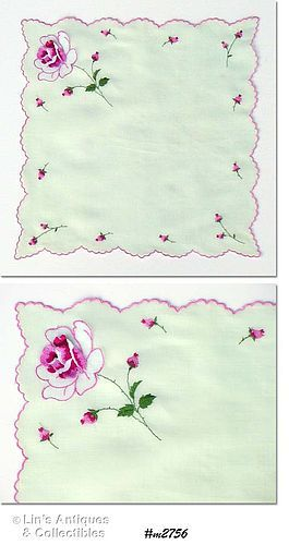 VINTAGE MINT GREEN HANDKERCHIEF WITH EMBROIDERED PINK ROSES