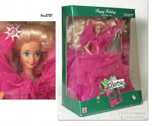 1990 HAPPY HOLIDAYS CHRISTMAS BARBIE NEVER REMOVED FROM BOX