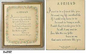 FRAMED VINTAGE SENTIMENT, �A FRIEND�