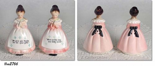 ENESCO VINTAGE PRAYER LADY MOTHER IN THE KITCHEN PINK DRESS SHAKER SET