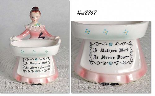 ENESCO VINTAGE PRAYER LADY PINK DRESS SCOURING PAD OR SOAP HOLDER