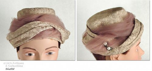 BEIGE HAT WITH TAN NETTING