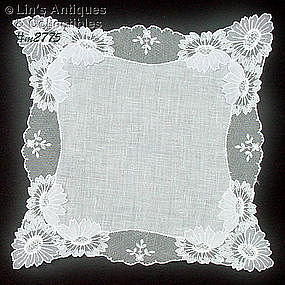 WEDDING HANDKERCHIEF WITH ATTACHED FLOWERS