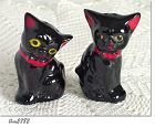 VINTAGE JAPAN BLACK CATS SALT AND PEPPER SHAKER SET