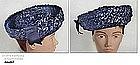 NAVY BLUE RAFFIA AND RIBBON HAT