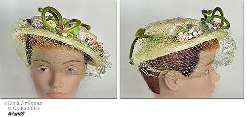 VINTAGE HAT WITH NETTING VEIL BY �JEAN ARLETT� OF NEW YORK