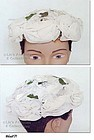 VINTAGE WHITE HAT WITH WHITE ROSES AND LEAVES