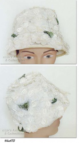 VINTAGE WHITE HAT COVERED WITH WHITE FLOWERS