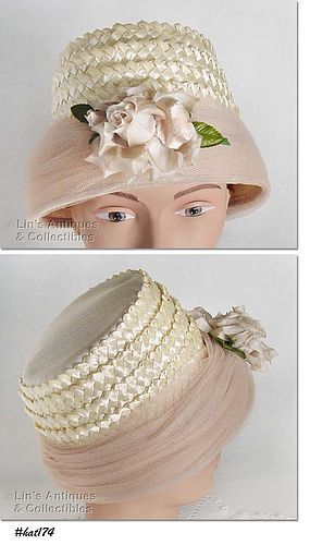 VINTAGE BEIGE HAT WITH ATTACHED ROSE