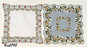 TWO FLORAL HANDKERCHIEFS WITH GOLD ACCENTS