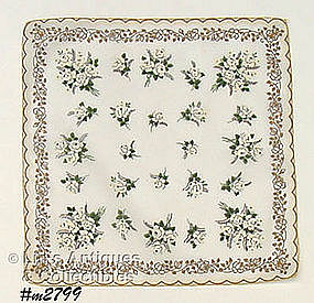 HANDKERCHIEF WITH WHITE ROSES AND GOLD COLOR ACCENTS