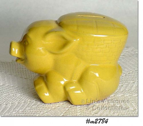 FRANKOMA POTTERY VINTAGE YELLOW PIGGY BANK