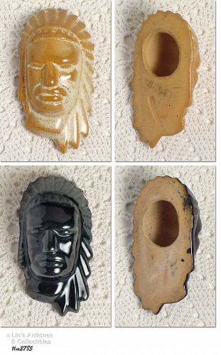 FRANKOMA POTTERY CHOICE VINTAGE SMALL INDIAN HEAD MASKS