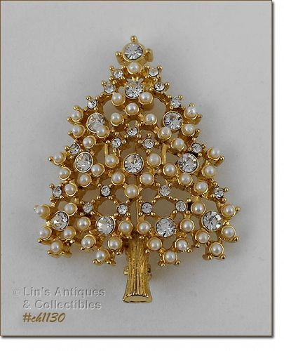 EISENBERG ICE CHRISTMAS TREE PIN GOLD TONE WITH RHINESTONES AND PEARLS