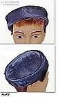 NAVY BLUE PILLBOX STYLE HAT