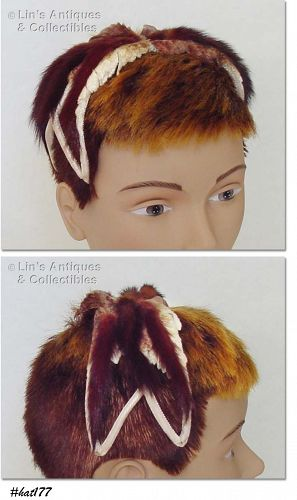 HEADBAND STYLE HAT WITH MINK (?) FUR TRIM