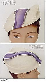 FANCY BERET STYLE WHITE HAT