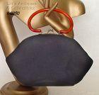 VINTAGE GARAY BLACK CLOTH HANDBAG WITH LUCITE HANDLE