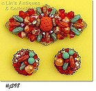 SHADES OF ORANGE LARGE VINTAGE PIN WITH MATCHING CLIP BACK EARRINGS