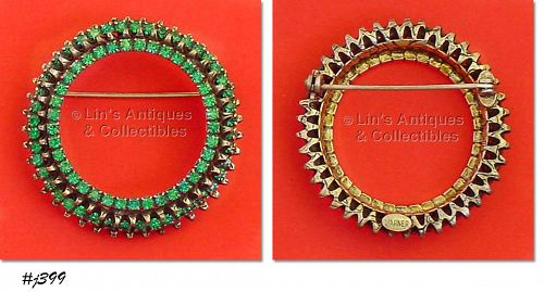 WARNER VINTAGE CIRCLE PIN WITH PRONG SET GREEN RHINESTONES