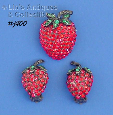 VINTAGE WEISS RHINESTONE STRAWBERRY PIN AND CLIP BACK EARRINGS