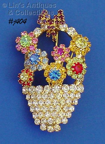 RHINESTONE BASKET OF FLOWERS PIN