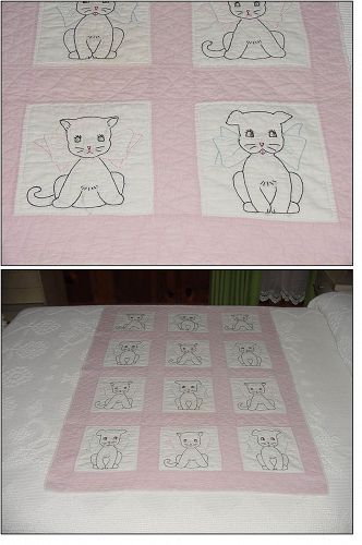 VINTAGE PUPPIES AND KITTENS HAND SEWN BABY QUILT
