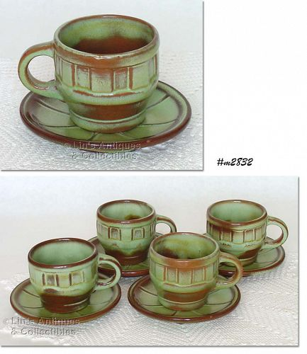 FRANKOMA POTTERY VINTAGE WAGON WHEEL DINNERWARE 4 CUPS WITH SAUCERS