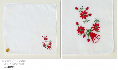 EMBROIDERED BELL AND POINSETTIAS HANDKERCHIEF