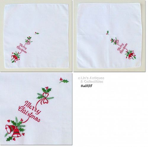 �MERRY CHRISTMAS� EMBROIDERED HANKY