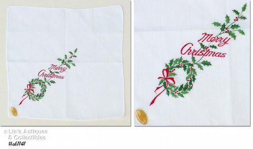 MERRY CHRISTMAS AND HOLLY VINTAGE CHRISTMAS HANDKERCHIEF HANKY