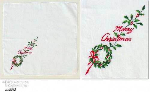 EMBROIDERED �MERRY CHRISTMAS� VINTAGE HANDKERCHIEF HANKY