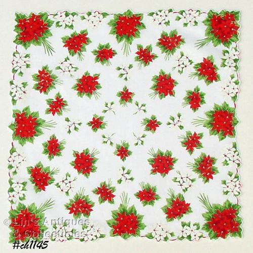 RED AND WHITE POINSETTIAS HANDKERCHIEF