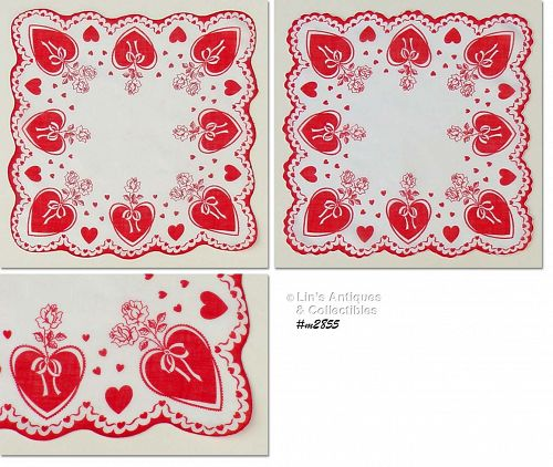 RED HEARTS AND ROSES VALENTINE HANKY