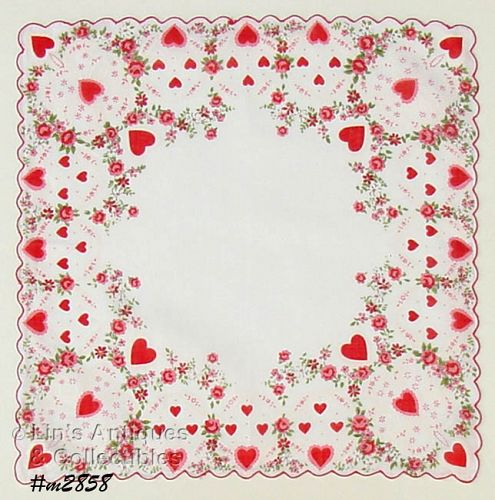 VINTAGE VALENTINE HANKY WITH LOTS OF HEARTS AND FLOWERS