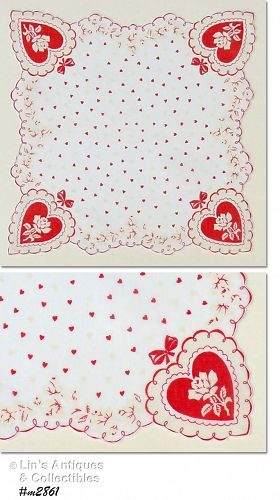 VINTAGE VALENTINE HANKY WITH RED HEARTS AND WHITE ROSES