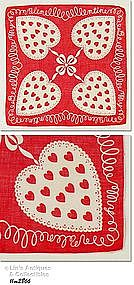 RED VALENTINE HANKY WITH 4 LARGE HEARTS