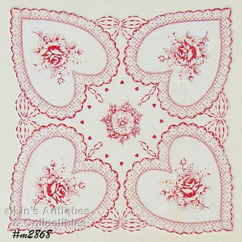 4 LARGE HEARTS WITH ROSES VINTAGE VALENTINE HANKY