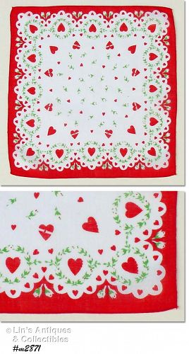 VINTAGE VALENTINE HANKY WITH HEARTS AND FLOWERS