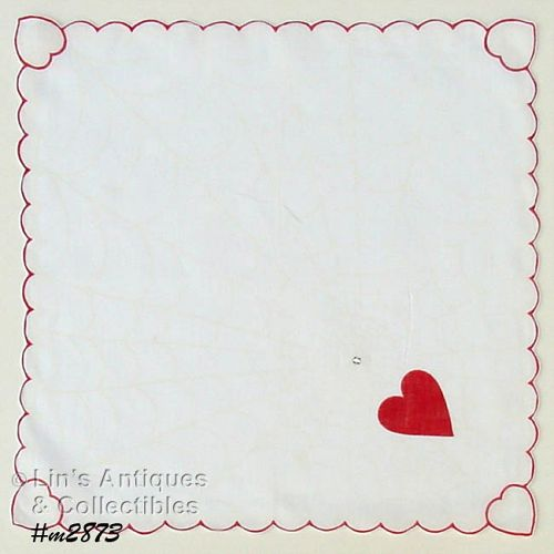 VINTAGE VALENTINE HANKY HEART CAUGHT IN A WEB