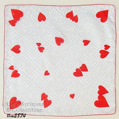 VINTAGE VALENTINE HANKY WITH RED HEARTS AND WHITE HEARTS 2 AVAILABLE