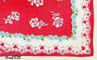 VINTAGE VALENTINE HANKY LARGE RED HEART WITH ROSES AND LITTLE HEARTS