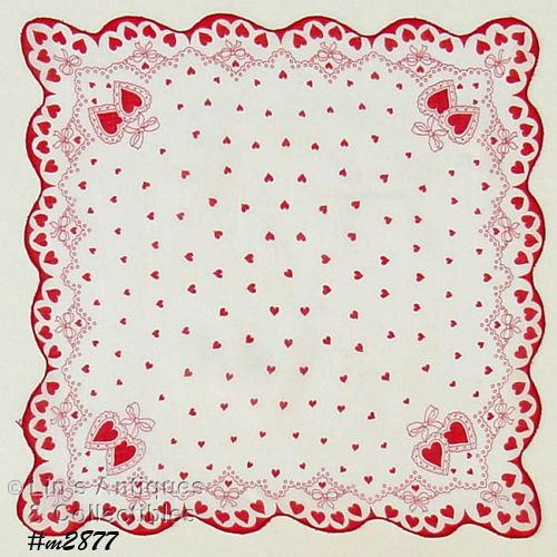 LOTS OF HEARTS VALENTINE VINTAGE HANDKERCHIEF