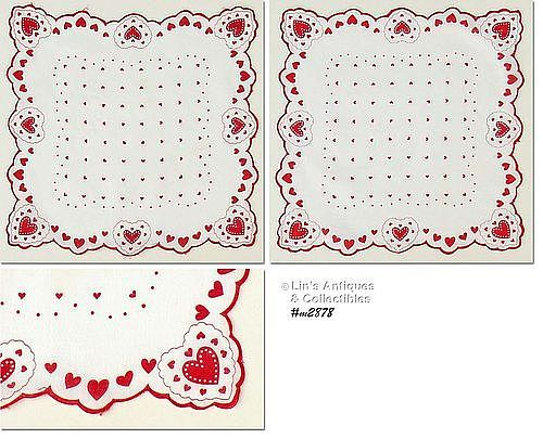 VINTAGE HEARTS, HEARTS, AND MORE HEARTS VALENTINE HANKY