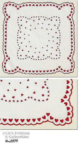 VINTAGE RED AND WHITE HEARTS VALENTINE HANDKERCHIEF