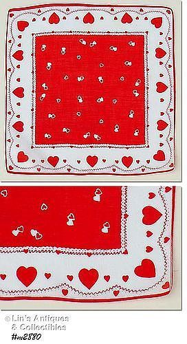 VINTAGE SINGLE AND DOUBLE HEARTS VALENTINE HANKY